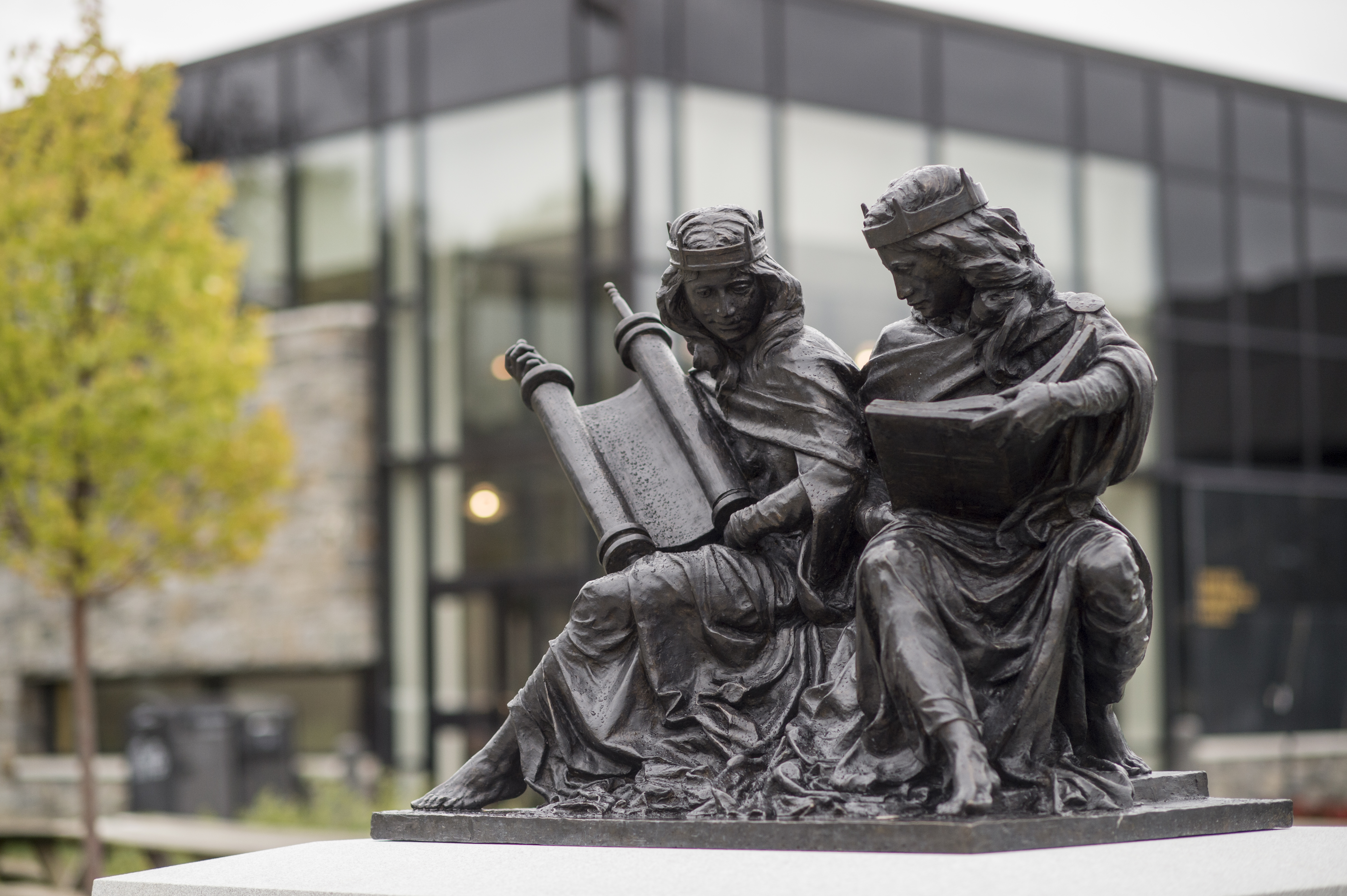 """Synagoga and Ecclesia in Our Time,"" an original bronze sculpture on campus that celebrates the 50th Anniversary of 'Nostra Aetate'"""