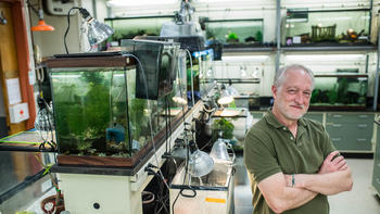 Scott smiles leaning on a tank of turtles in his lab